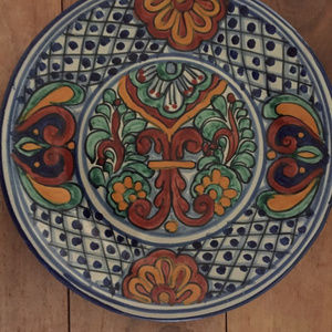 Hand painted clay platter